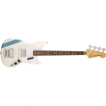 Fender Pawn Shop Mustang® Bass, Rosewood Fingerboard, Olympic White with Stripe