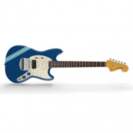Fender Kurt Cobain Mustang®, Rosewood Fingerboard, Dark Lake Placid Blue with Stripe